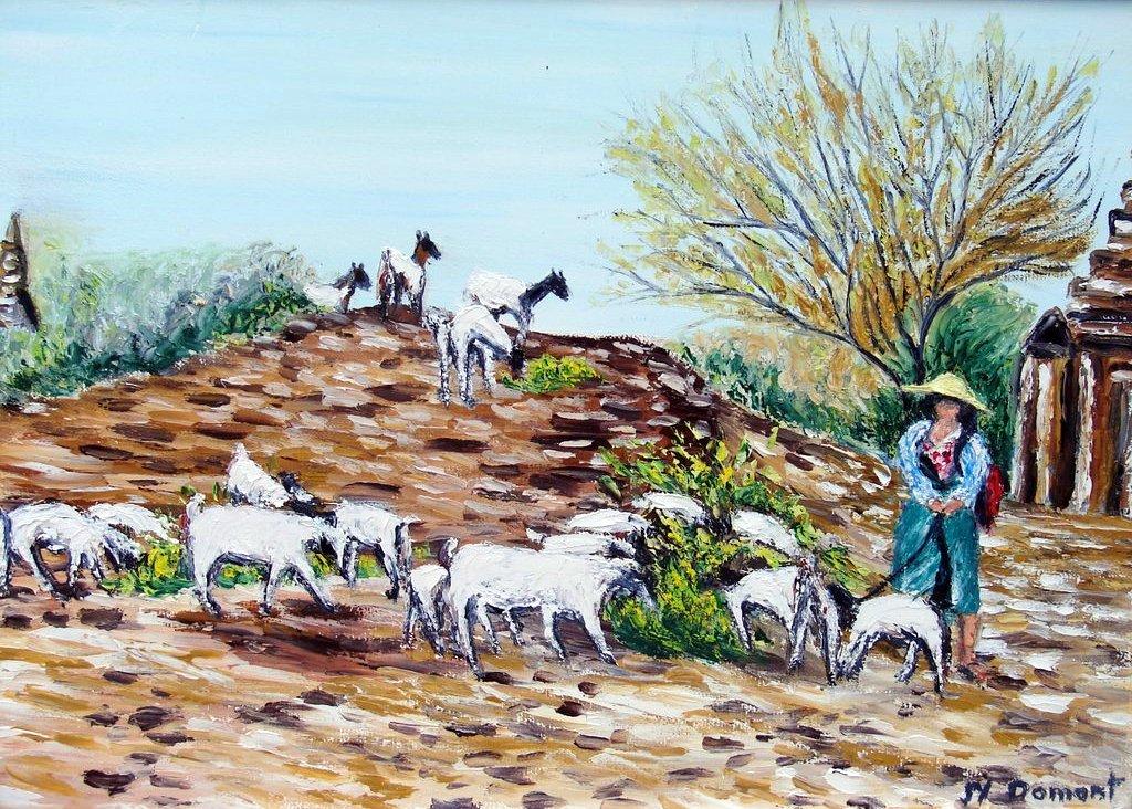 la gardienne de chèvres  / Birmanie