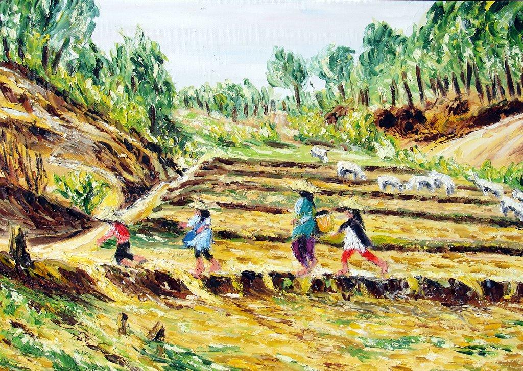 la traversée des rizières asséchées / Birmanie