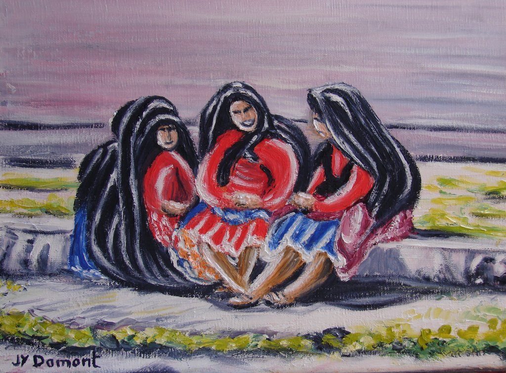 Les femmes bavardant sur l'île de Taquile / Pérou