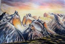 Soleil couchant sur les montagnes de Patagonie ( Chili )