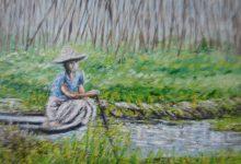 La jardinière dans les jardins flottants  ( Birmanie )