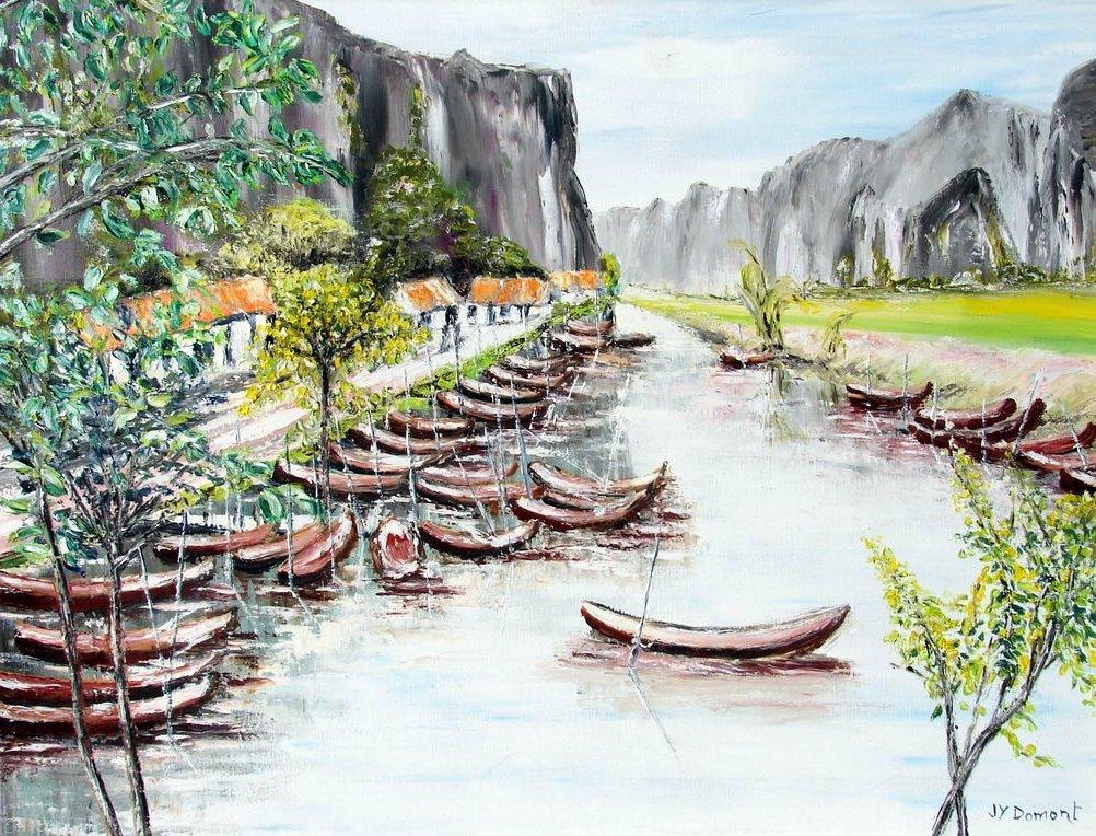 les barques de la baie d'Halong  / Vietnam