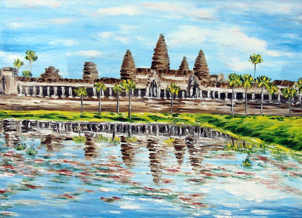 le temple d'Ankgor Wat et ses reflets / Cambodge