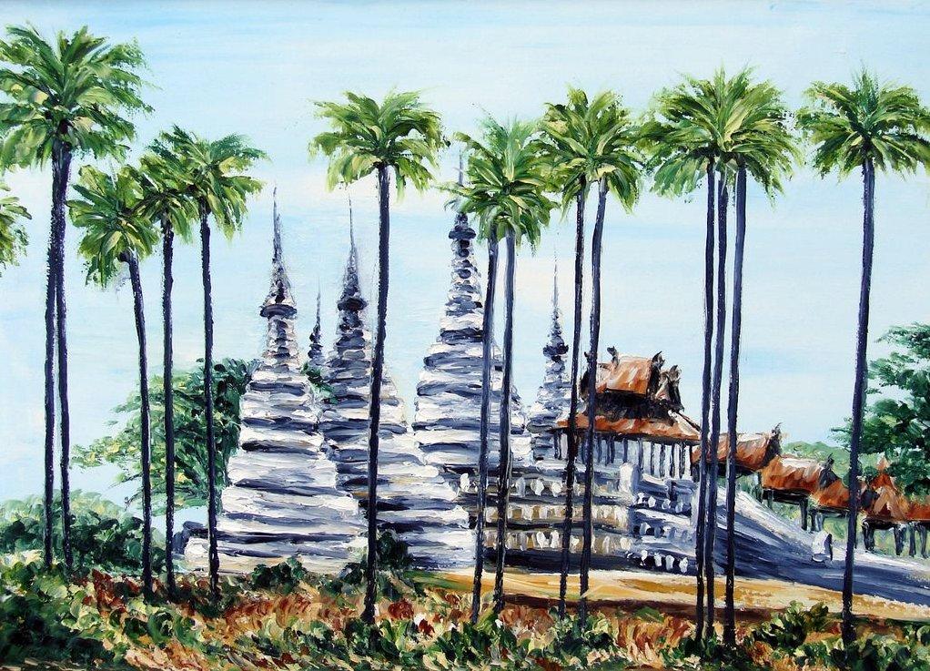pagodes et palmiers / Birmanie