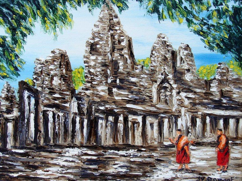 ombre et lumière sur le temple de Bayon / Cambodge