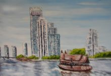 Bangkok : promenade en sampan sur le fleuve ( Thaïlande )