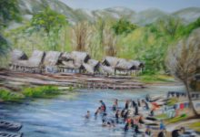 Le village pa-o au bord de la rivière ( Birmanie )